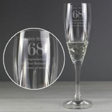 Personalised Big Age Cut Crystal Champagne Flute P0108A83